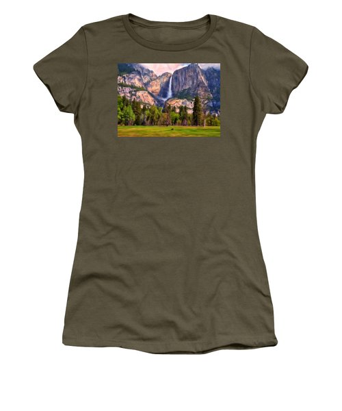 Women's T-Shirt (Junior Cut) featuring the painting Yosemite Falls by Michael Pickett