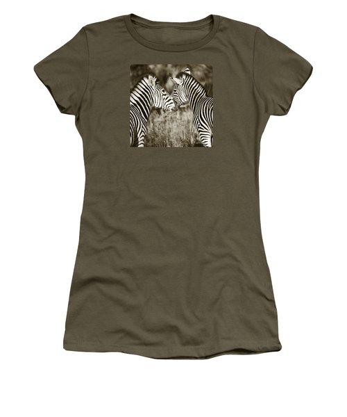 Zebra Affection Women's T-Shirt (Junior Cut) by Liz Leyden