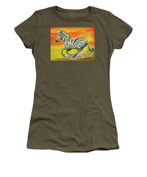 Zebra Kicking Up Dust Women's T-Shirt