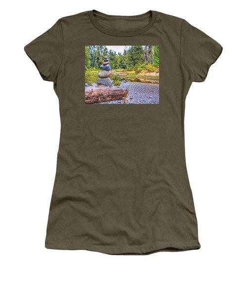 Zen Balanced Stones On A Tree Women's T-Shirt (Junior Cut) by Eti Reid