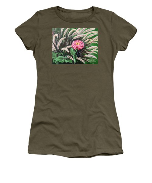 Zinnia Among The Grasses Women's T-Shirt (Athletic Fit)