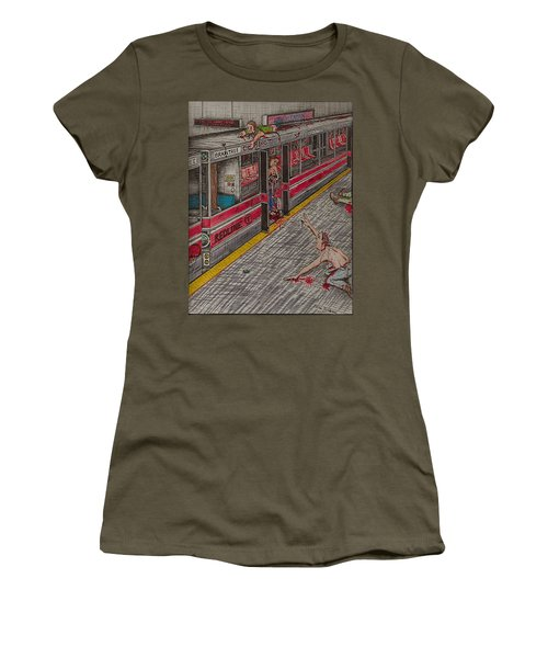 Zombies On The Red Line Women's T-Shirt (Athletic Fit)