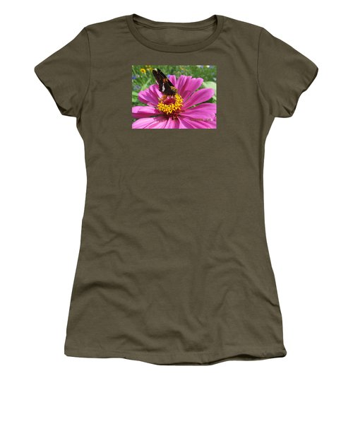 Women's T-Shirt (Junior Cut) featuring the photograph  Butterfly On Pink Flower by Tina M Wenger