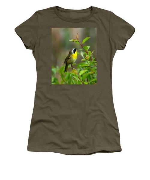 Common Yellowthroat Warbler Warbling Dsb006 Women's T-Shirt (Junior Cut) by Gerry Gantt