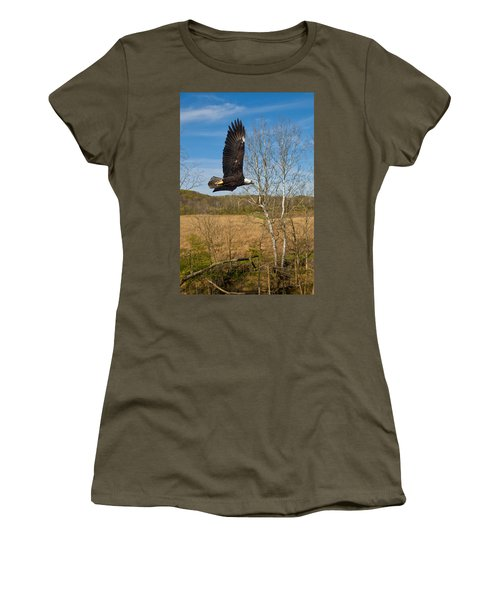 Women's T-Shirt (Junior Cut) featuring the photograph  Eagle Circleing Her Nest by Randall Branham