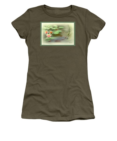 Women's T-Shirt (Junior Cut) featuring the painting  Gold Fish Pond by Bonnie Willis