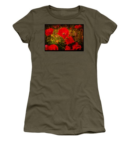 Women's T-Shirt (Junior Cut) featuring the photograph  Poppies by Beverly Cash