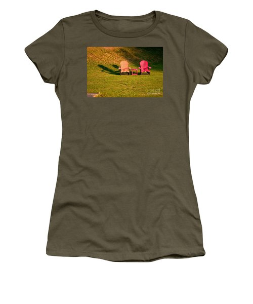 Women's T-Shirt (Junior Cut) featuring the photograph Red And Orange Chairs by Les Palenik