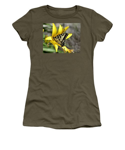 Swallowtail Yellow Lily Women's T-Shirt (Athletic Fit)