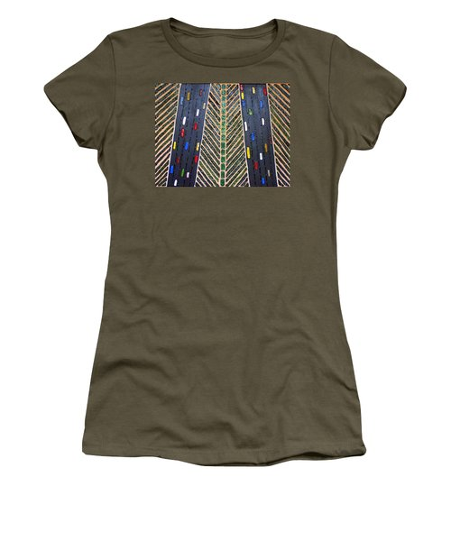 Women's T-Shirt featuring the mixed media Traffic by Cynthia Amaral