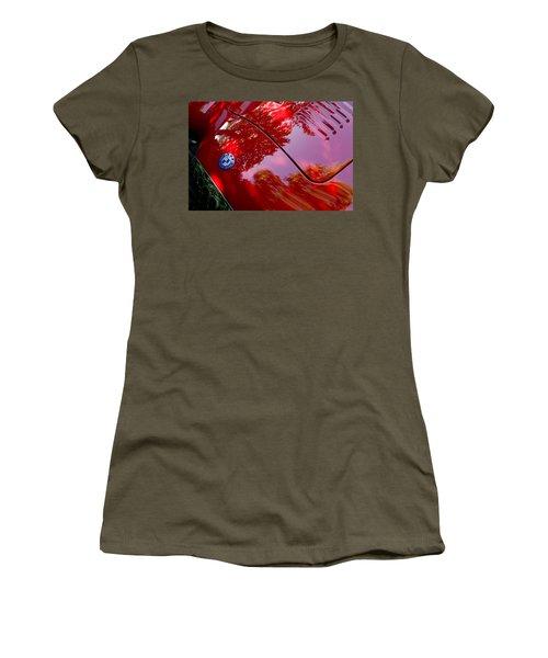 Women's T-Shirt featuring the photograph 1954 O.s.c.a. Mt4 Maserati Hood Emblem by Jill Reger
