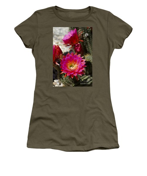 Pink Cactus Flowers Women's T-Shirt (Athletic Fit)
