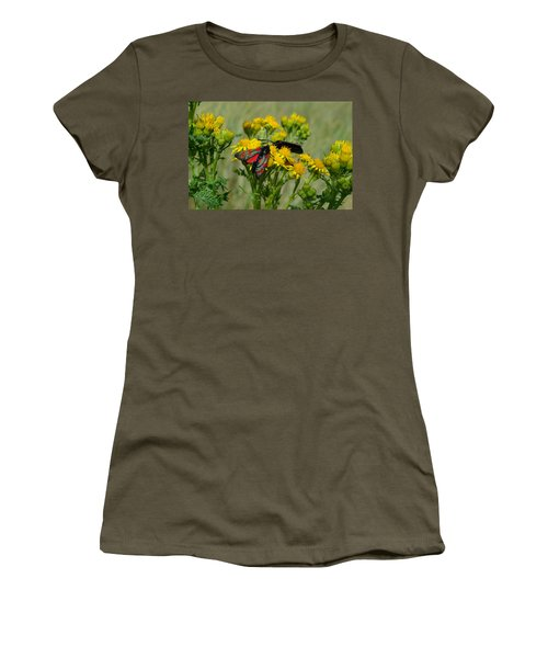 Women's T-Shirt (Junior Cut) featuring the photograph 6 Spot Burnet by Barbara Walsh