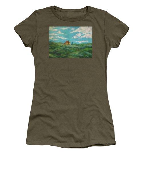 A Day In Tuscany Women's T-Shirt (Junior Cut) by John Keaton