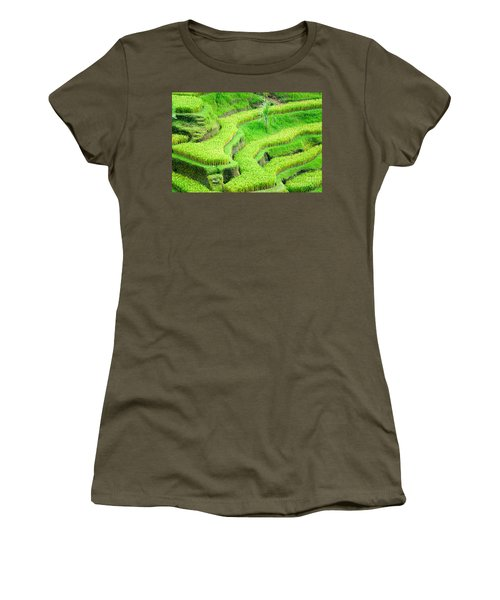 Women's T-Shirt (Junior Cut) featuring the photograph Amazing Rice Terrace Field by Luciano Mortula