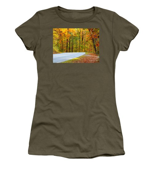 Women's T-Shirt (Junior Cut) featuring the photograph Autumn Drive by Lydia Holly