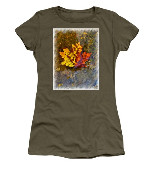 Women's T-Shirt (Junior Cut) featuring the digital art Autumn Maple Leaf In Water by Debbie Portwood
