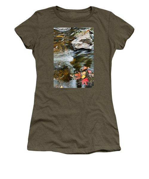 Women's T-Shirt (Junior Cut) featuring the photograph Autumn Stream by Cheryl Baxter