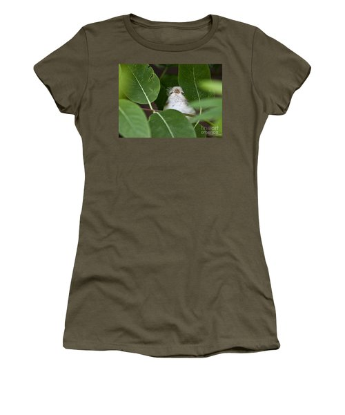 Women's T-Shirt (Junior Cut) featuring the photograph Baby Bird Peeping In The Bushes by Jeannette Hunt