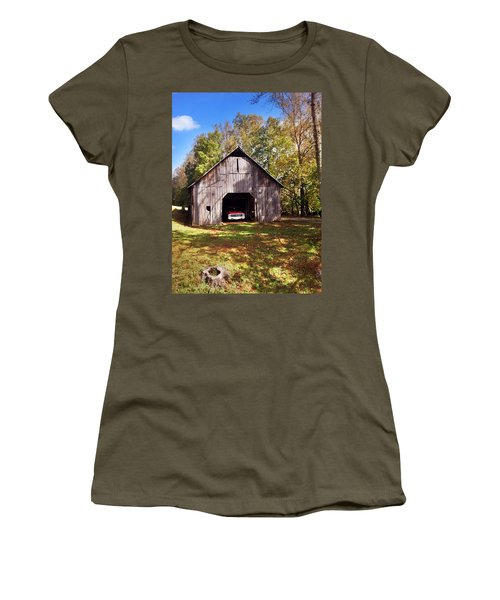 Women's T-Shirt (Junior Cut) featuring the photograph Barn An Chevy by Janice Spivey