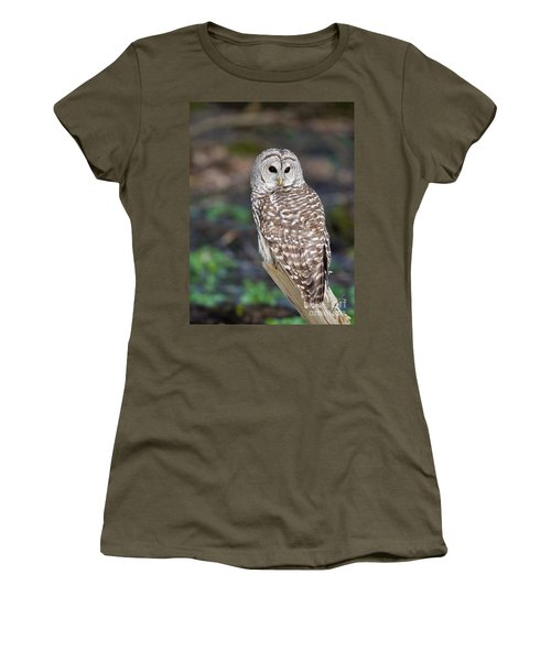 Women's T-Shirt (Junior Cut) featuring the photograph Barred Owl by Les Palenik