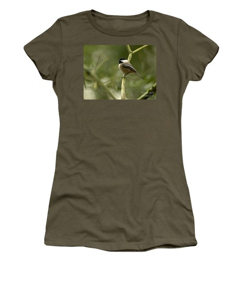 Black-capped Chickadee With Branch Bokeh Women's T-Shirt