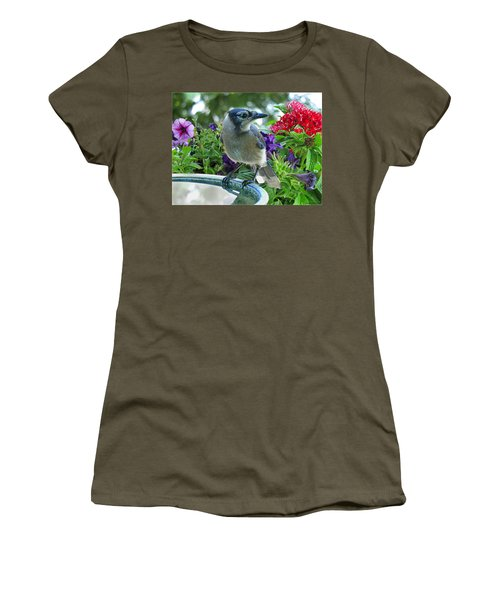 Women's T-Shirt (Junior Cut) featuring the photograph Blue Jay At Water by Debbie Portwood