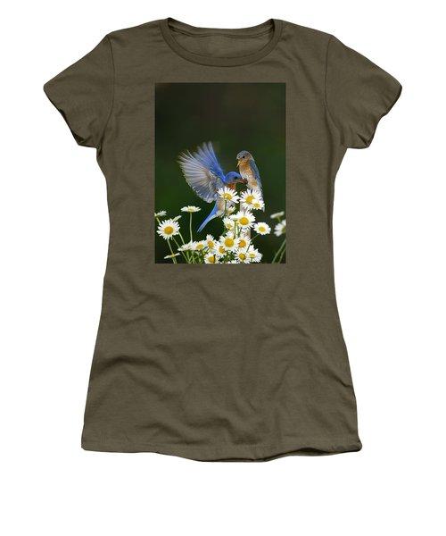 Women's T-Shirt (Junior Cut) featuring the photograph Bluebirds Picnicking In The Daisies by Randall Branham
