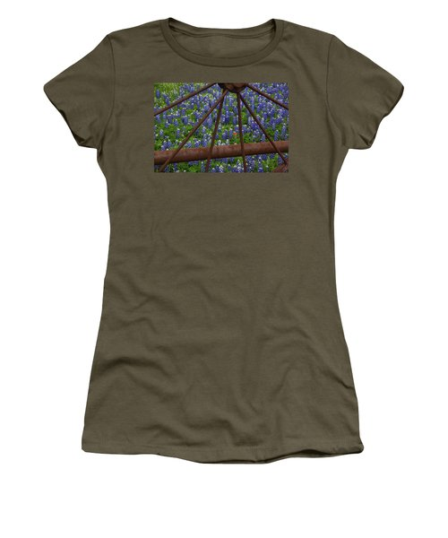 Bluebonnets And Rusted Iron Wheel Women's T-Shirt