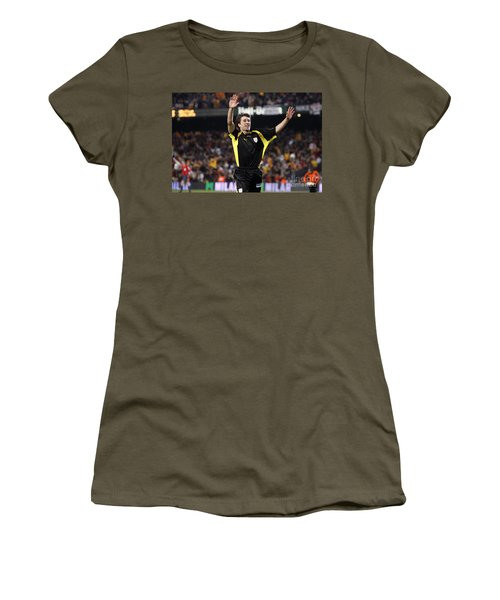 Women's T-Shirt featuring the photograph Bojan Krkic Celebrating A Goal 3 by Agusti Pardo Rossello