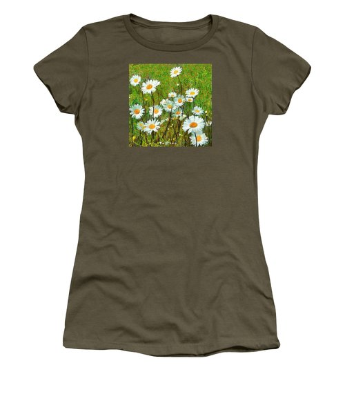 Women's T-Shirt (Junior Cut) featuring the painting Camomiles Field by Dragica  Micki Fortuna