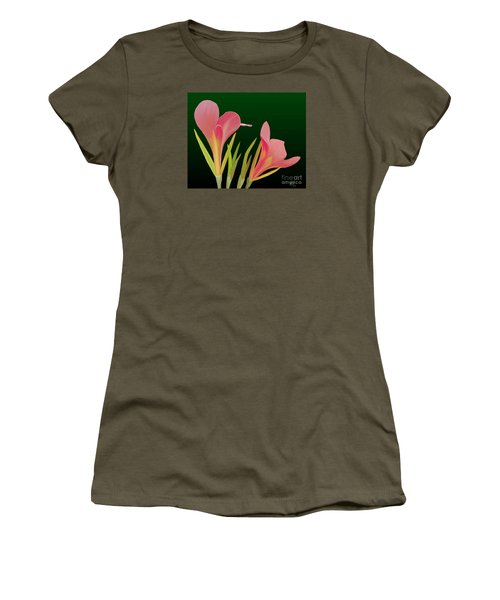 Women's T-Shirt (Junior Cut) featuring the painting Canna Lilly Whimsy by Rand Herron