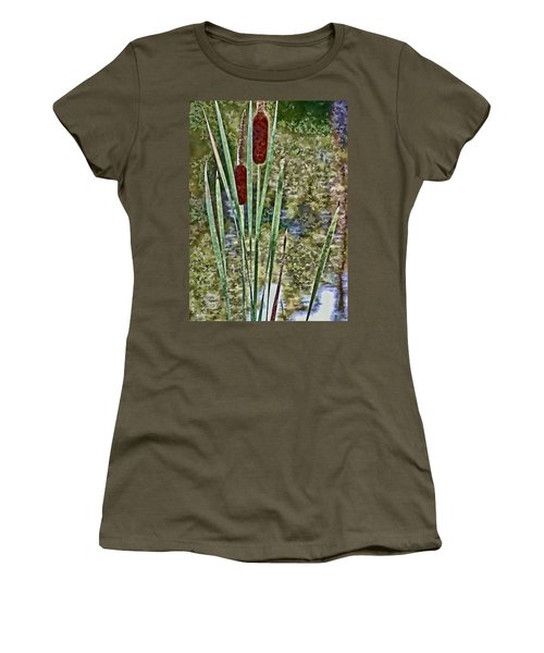 Women's T-Shirt (Junior Cut) featuring the photograph Cattails Along The Pond by Don Schwartz