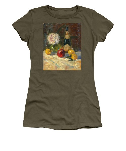 Champagne And Roses Women's T-Shirt (Junior Cut) by Marlyn Boyd