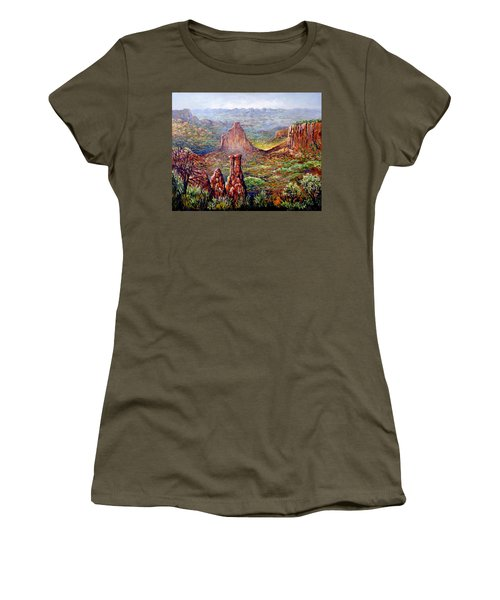 Women's T-Shirt (Junior Cut) featuring the painting Colorado National Monument by Lou Ann Bagnall