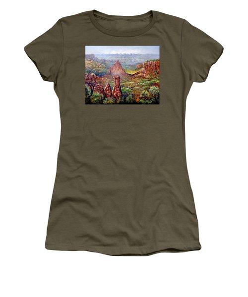 Colorado National Monument Women's T-Shirt (Junior Cut) by Lou Ann Bagnall