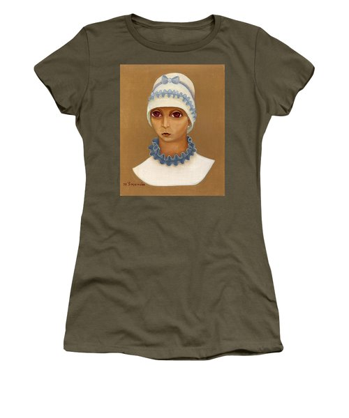 Colorful Young Woman Brown Eyes Blue White Hat Collar  With Ribbon Small Lips Women's T-Shirt (Junior Cut) by Rachel Hershkovitz