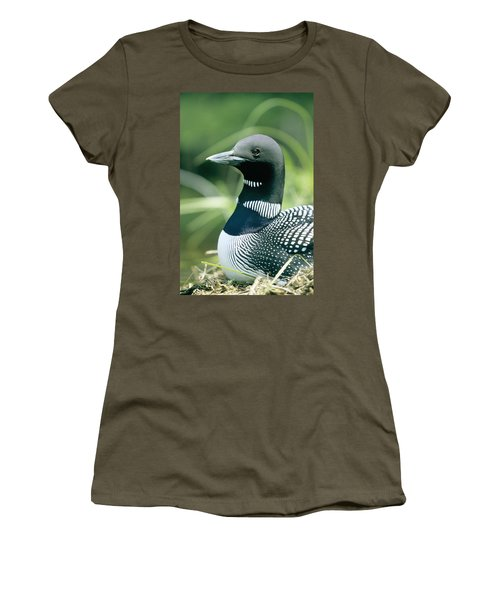 Common Loon, La Mauricie National Park Women's T-Shirt (Junior Cut) by Philippe Henry