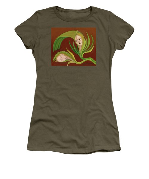 Corn Love Fantastic Realism Faces In Green Corn Leaves Sleeping Or Dead Loving Or Mourning Gree Women's T-Shirt (Athletic Fit)