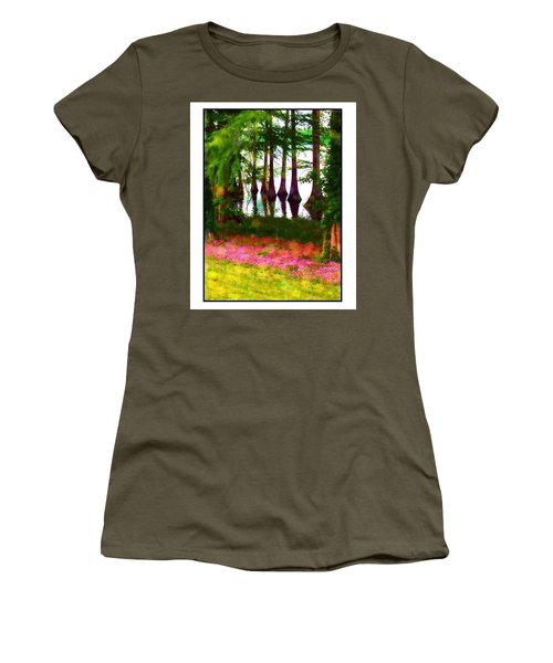 Cypress With Oxalis Women's T-Shirt (Junior Cut) by Judi Bagwell