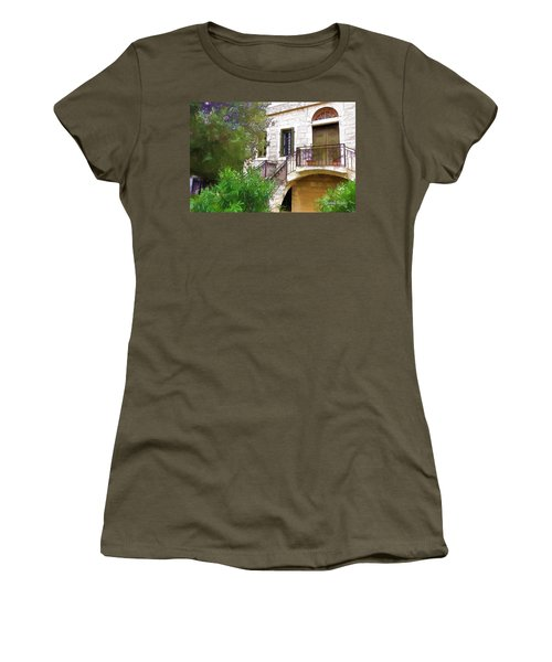 Women's T-Shirt (Athletic Fit) featuring the photograph Do-00490 Balcony Of Old House by Digital Oil