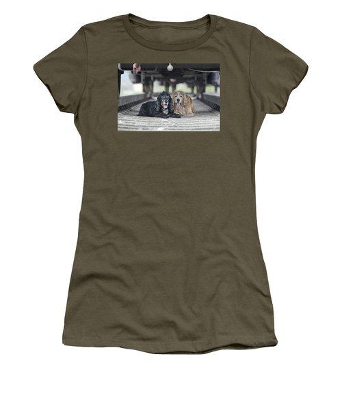 Dogs Lying Under A Train Wagon Women's T-Shirt