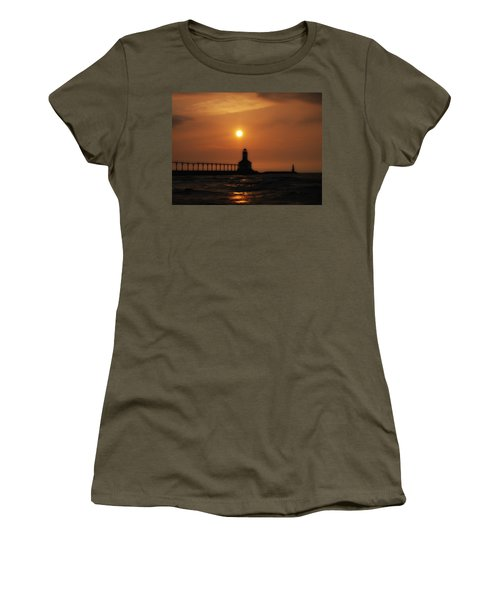 Dreamy Sunset At The Lighthouse Women's T-Shirt (Athletic Fit)