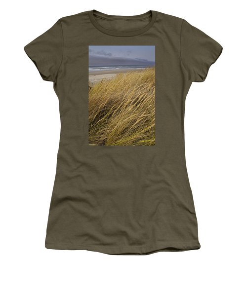 Women's T-Shirt (Junior Cut) featuring the photograph Dune Grass On The Oregon Coast by Mick Anderson