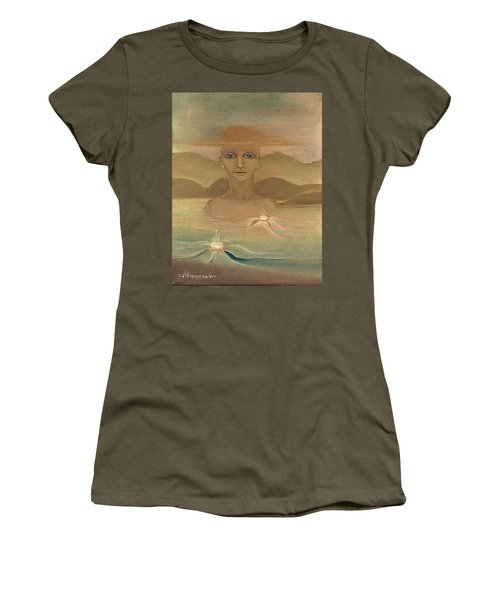 Face From Nature Desert Landscape Abstract Fantasy With Flowers Blue Eyes Yellow Cloud  In Sky  Women's T-Shirt (Athletic Fit)