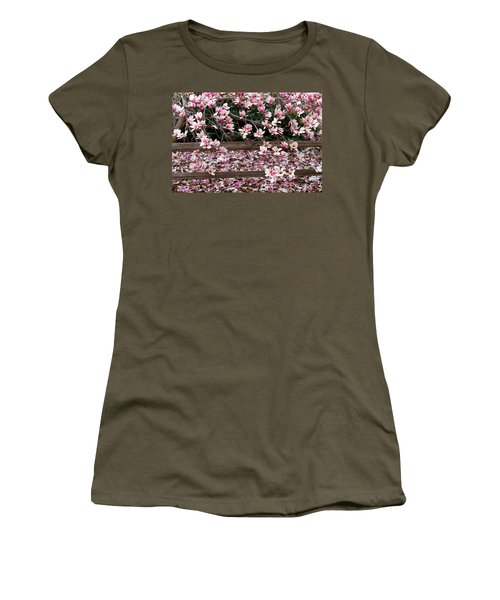 Women's T-Shirt (Junior Cut) featuring the photograph Fence Of Flowers by Elizabeth Winter
