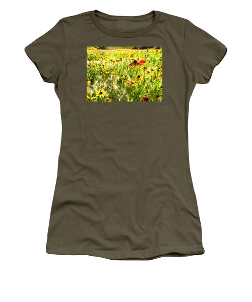 Field Of Bright Colorful Wildflowers Women's T-Shirt (Junior Cut) by Anne Mott
