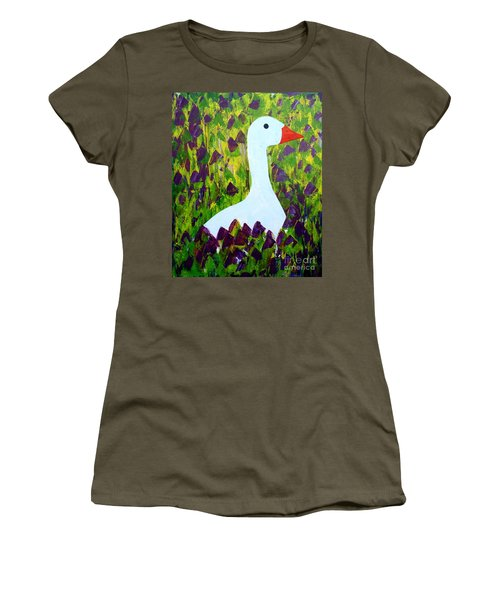 Women's T-Shirt (Junior Cut) featuring the painting Goose by Barbara Moignard