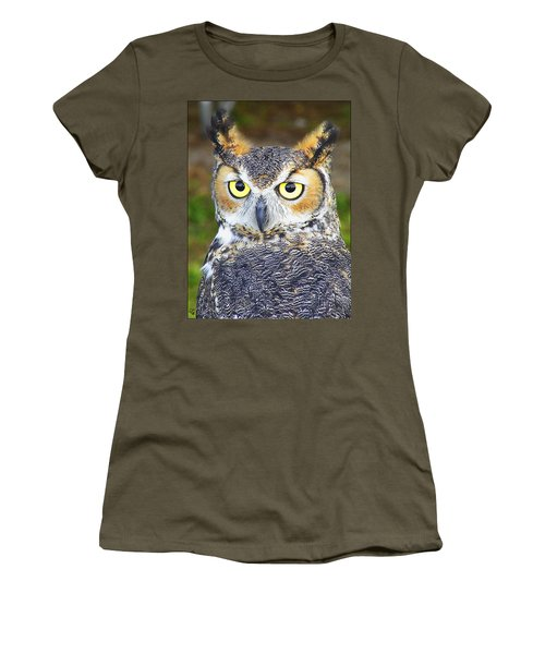 Women's T-Shirt (Junior Cut) featuring the photograph Great Horned Owl by Barbara Middleton