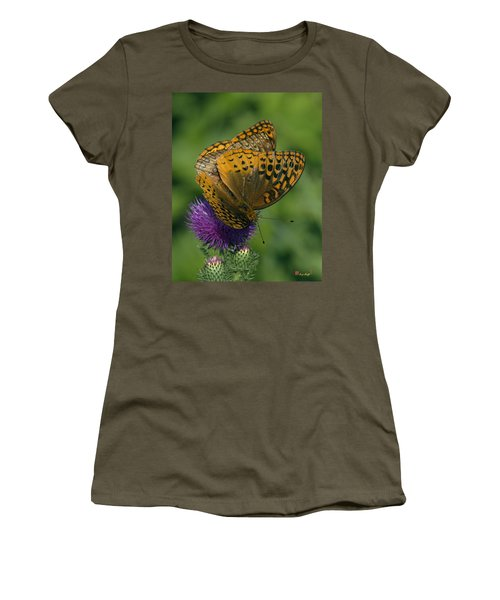 Great Spangled Fritillaries On Thistle Din108 Women's T-Shirt (Athletic Fit)